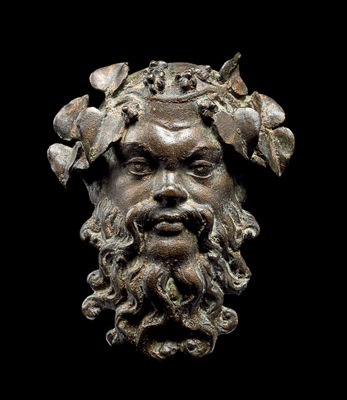 Fig.11: Cat. No. 221 Mask of Silenus (Begram, Room 13), 1st-2nd centuries AD (bronze, 9.5 x 7.9 cm (3 3/ 4 x 3 1/ 8)) - National Museum of Afghanistan © Thierry Ollivier / Musée Guimet