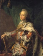 Portrait of Frederik V. in his coronation robes. Painting by C.G. Pilo.