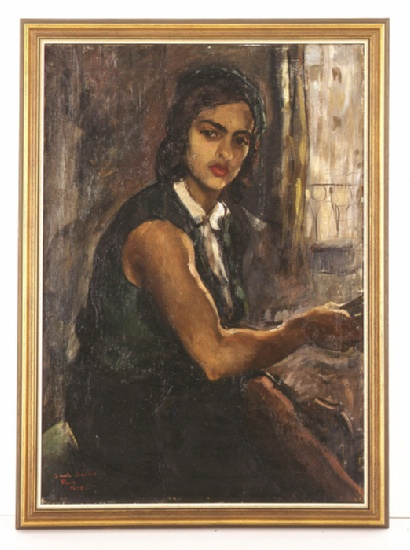 "Amrita Sher-Gil, ""Selfportrait in Green"" (1934)"